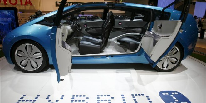 "A Toyota concept car called the ""Hybrid I"", which uses a hybrid engine and drive-by-wire technology is seen at the British International Motorshow in London's Excel centre"