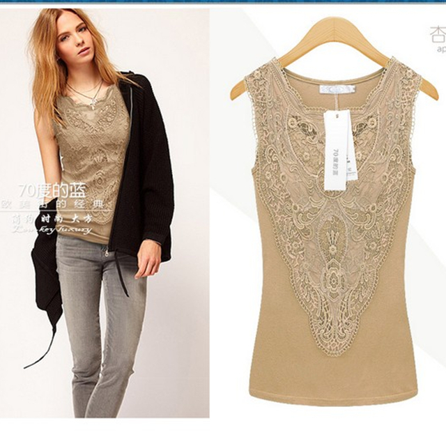 Lace Sheer Sleeve Embroidery Shirt $7.99