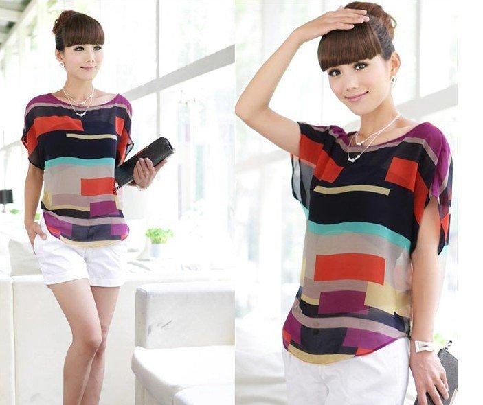 Multi Colour Print Short Sleeve Chiffon