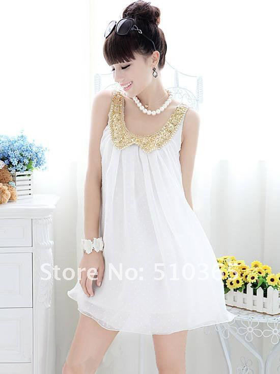 Summer pleated chiffon white casual women's dress $7.89