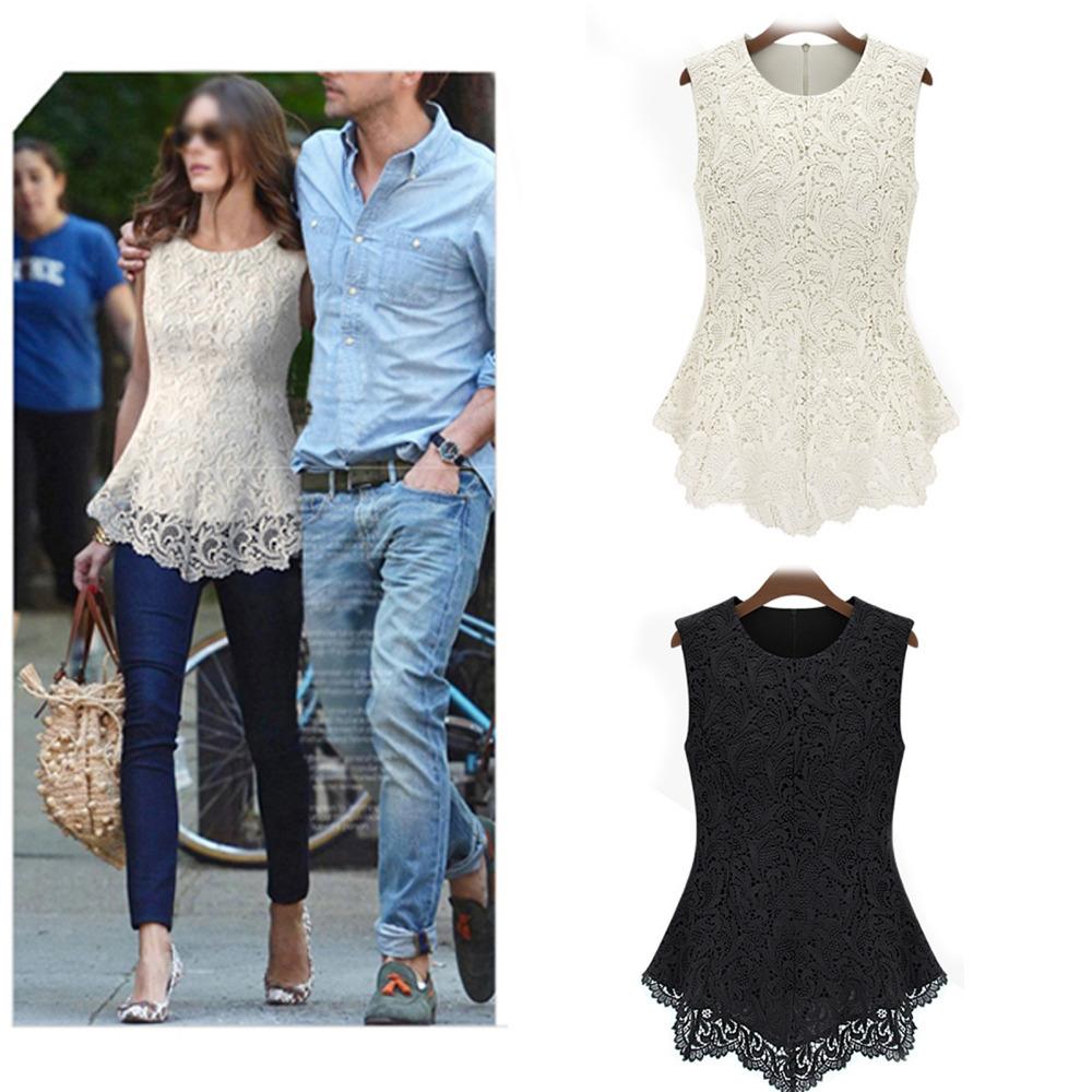 Women Elegant Lace Chiffon Blouse Slim Fit Shirts $8.54