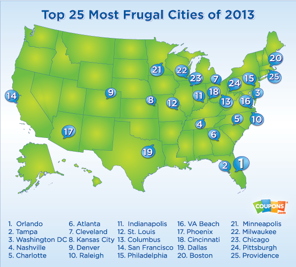Is Your City A Frugal City All The Frugal Ladies - Most populated cities in us map