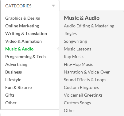 Fiverr has many categories