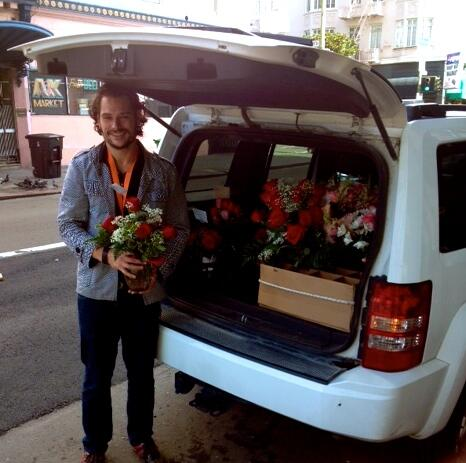 Here's a great example! This is a real Deliv driver delivering flowers for Valentine's Day and raking up the cash