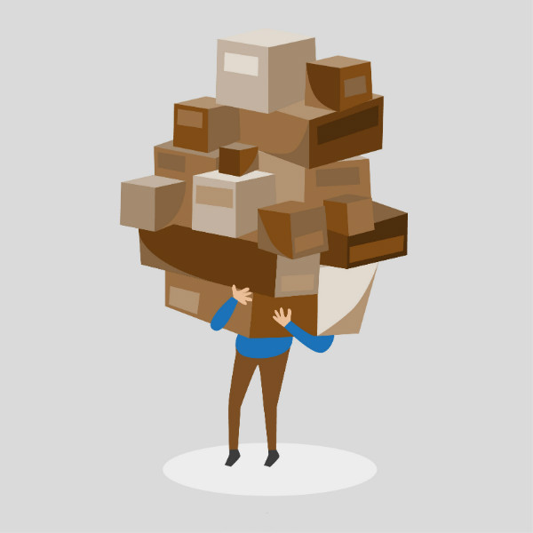 Man holding up boxes